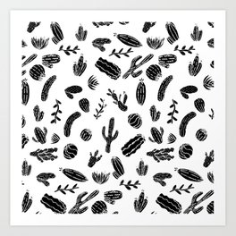 Modern Black and White Succulent Cactus  Pattern Art Print