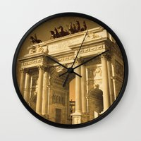 lee pace Wall Clocks featuring Arco della Pace Milan by Louisa Catharine Photography And Art