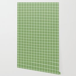 Asparagus - green color - White Lines Grid Pattern Wallpaper