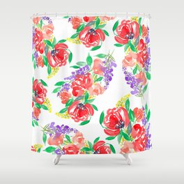 Loose Floral Pattern P6 Shower Curtain