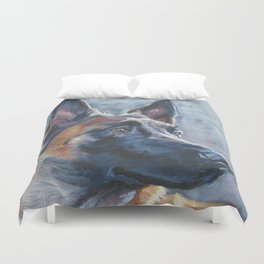 beautiful Belgian Malinois dog art portrait Beautiful Fine Art Dog Painting by L.A.Shepard Duvet Cover