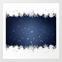 Adorable snowy night Art Print