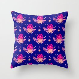 Modern navy blue pink abstract monster leaves illustration Throw Pillow