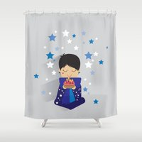 happy birthday Shower Curtains featuring Happy Birthday by Alessandra Gagliano