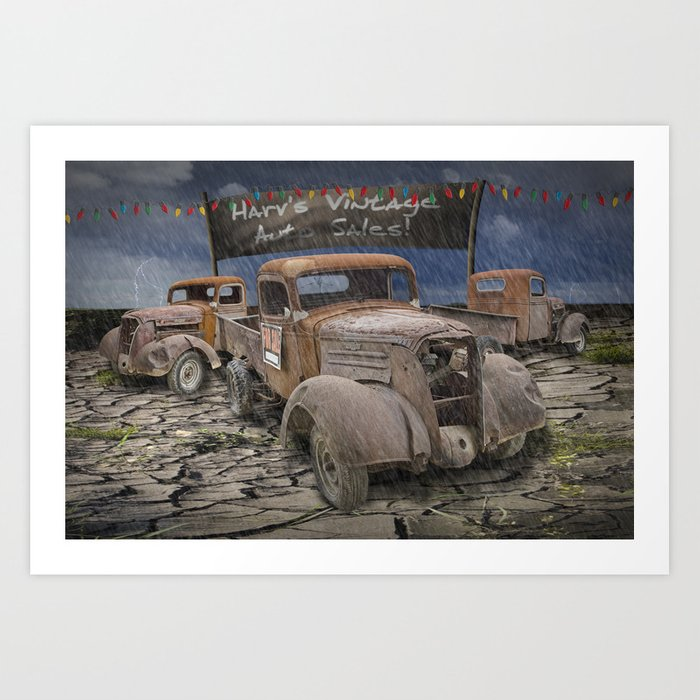 Vintage Auto Sales by Harv Art Print by randynyhof | Society6