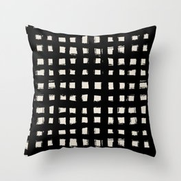 black and white squared mind - poster, drawing, bedroom, comfy, y2k, mid century print, sale, decor, Throw Pillow