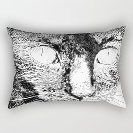 Fluffy's eyes drawing, black and white Rectangular Pillow