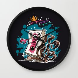 Cartoon Audio Cassette Tape on Dark Background Wall Clock