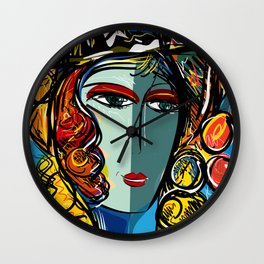 Portrait of a Girl with Hat French Pop Art Expressionism Wall Clock