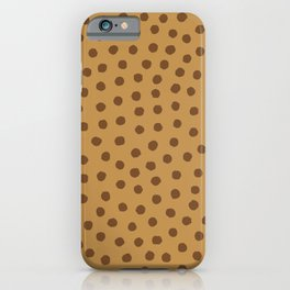 Organic Rough Hand-drawn Polka Dots in Golden Colors, Minimalist Abstract Pattern iPhone Case