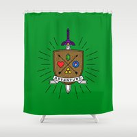 adventure Shower Curtains featuring ADVENTURE! by Quick Brown Fox