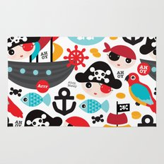 Cute kids pirate ship and parrot illustration pattern Rug