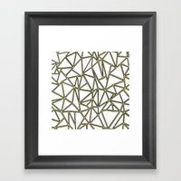 Ab Blocks White Gold Framed Art Print