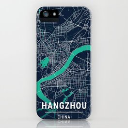 Hangzhou Blue Dark Color City Map iPhone Case
