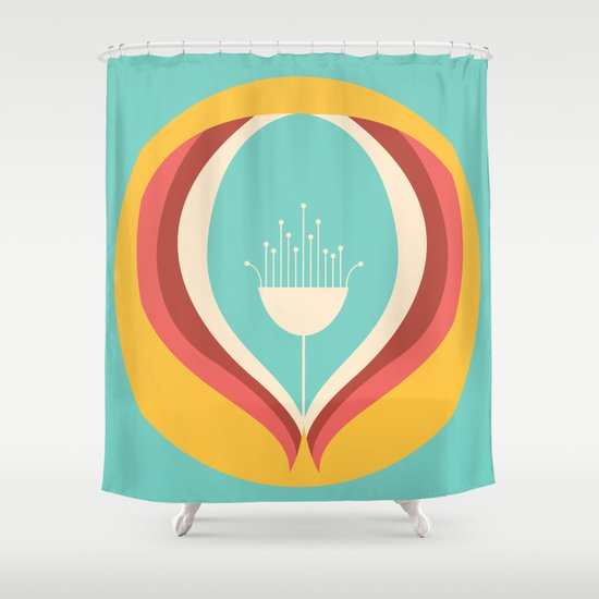 50's floral pattern V Shower Curtain