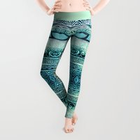 fall Leggings featuring Dreamy Tribal Part VIII by Pom Graphic Design