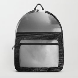 A Dreamer's Journey - Railroad Tracks and Storm in Black and White Backpack