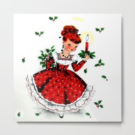 Christmas Vintage Lady in Red with Holly Metal Print