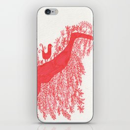The Songbird and the tree (Red Version) iPhone Skin