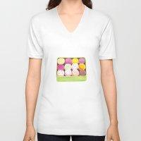 macarons V-neck T-shirts featuring Macarons by Rachel Zaagman