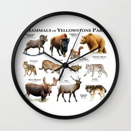 Mammals of Yellowstone Park Wall Clock