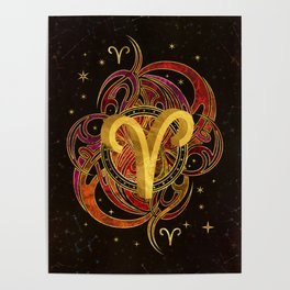 Aries Zodiac Sign Fire element Poster