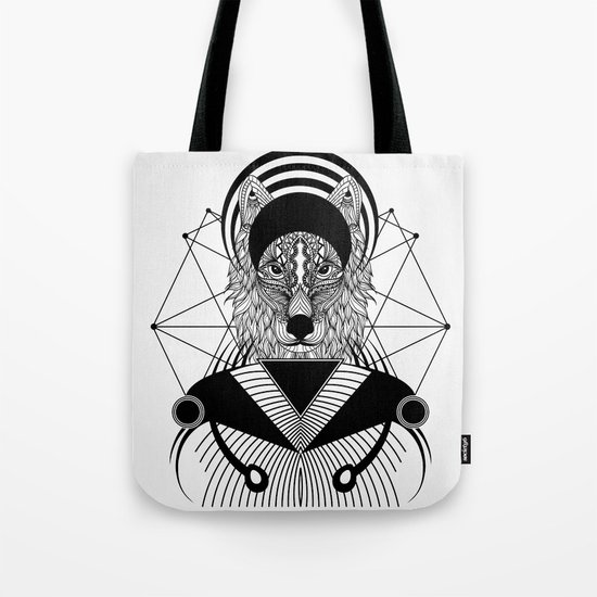 Zentangle Wolf Tote Bag