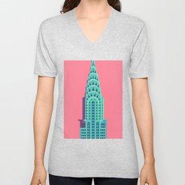 Chrysler Building New York Art Deco - Red Unisex V-Neck