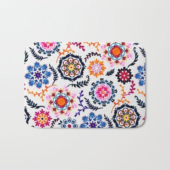 Happy Color Suzani Inspired Pattern Bath Mat