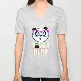 Panda Nerd Girl - Rainbow Unisex V-Neck