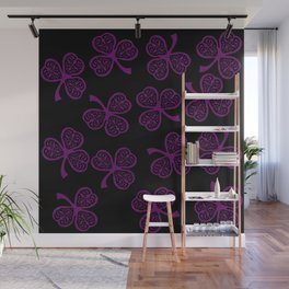 Purple shamrock Wall Mural