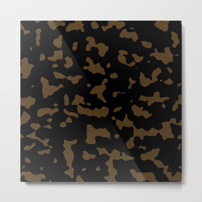 Camouflage Black and Tan Metal Print
