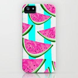 Watermelon Crush on Aqua and White Stripes iPhone Case