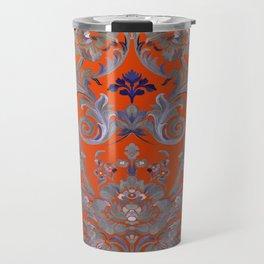 Painted Tibetan Brocade orange Travel Mug