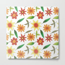 bright flowers and green leaves Metal Print