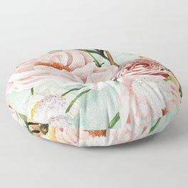Blue Oval Peonies & Poppies Floor Pillow