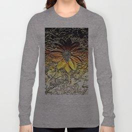 Golden glitter rust daisy flower metallic look Long Sleeve T-shirt