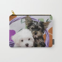 Maltese Puppy and a Yorkshire Terrier Puppy Cuddling in a Purple Basket with Flower Background Carry-All Pouch