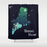 maine Shower Curtains featuring Almost, Maine by Typo Negative