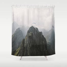 Flying Mountain Explorer - Landscape Photography Shower Curtain