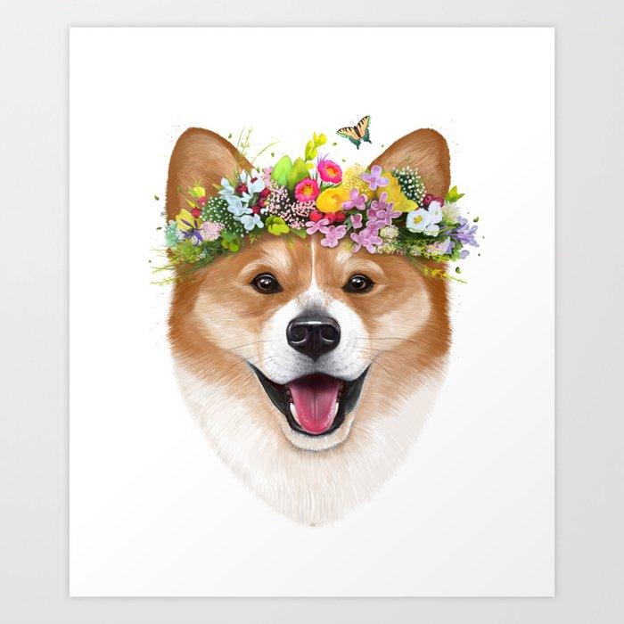 Korgi with flowers Art Print