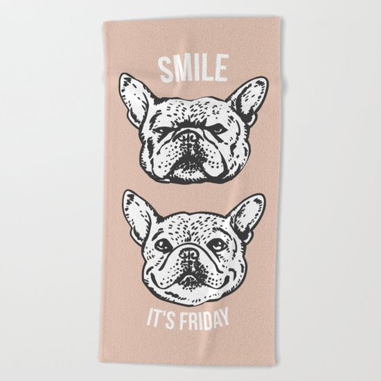 Smile It's Friday Frenchie Beach Towel