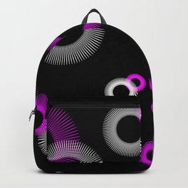 Pink White Starburst Sunburst Black Backpack