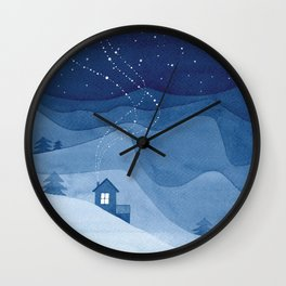 house in mountains, blue Wall Clock