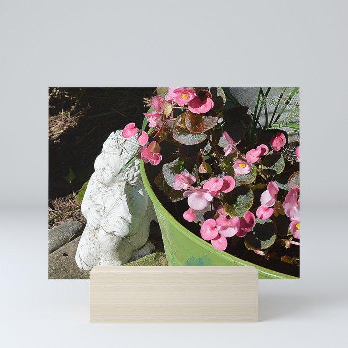Sun kissed Garden Angel and Begonias Mini Art Print