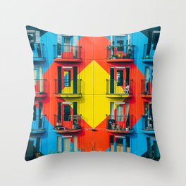 APARTMENTS - BLUE - RED - YELLOW - BALCONIES - PHOTOGRAPHY Throw Pillow