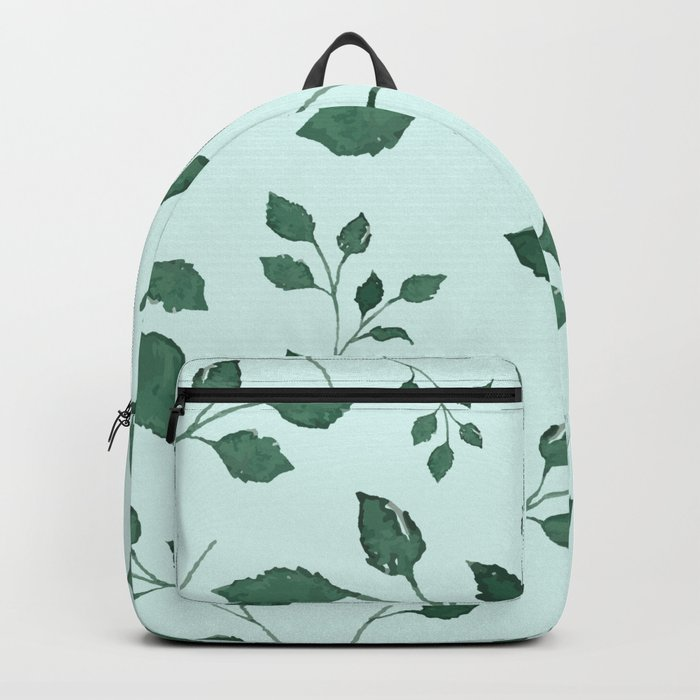 Light Cyan Soft Mint Green Leaves Greenery Pattern Modern Décor Backpack