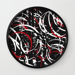 Black Red and White Bold Circle Design Abstract Wall Clock