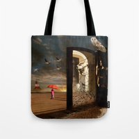 return Tote Bags featuring  No Return by Barbara Aitchison's ArtAllure