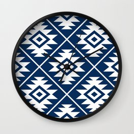 Aztec Symbol Ptn White on Dk Blue Wall Clock
